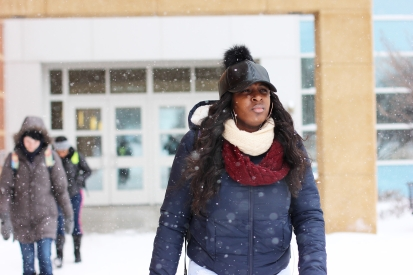 Senior Brooke Dixon braves the cold after studying in the Charles V. Park Library on March 1, 2016.