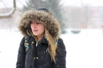 Freshman Madyson Davis walks to class during the unexpected snow storm on March 1, 2016.