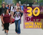 Students make their way across the campus of Central Michigan University on the first day of the fall semester on Monday August 31, 2015. Photos by Steve Jessmore/Central Michigan University